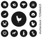 set of 13 editable zoo icons....