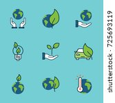 color save planet icons set on... | Shutterstock .eps vector #725693119