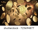 scattered bitcoins on a lighted ... | Shutterstock . vector #725694877