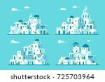 Flat Design Santorini Village...
