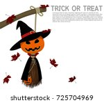 handmade halloween doll among... | Shutterstock .eps vector #725704969