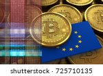 3d illustration of bitcoin over ... | Shutterstock . vector #725710135