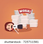 unhappy tired office worker... | Shutterstock .eps vector #725711581
