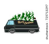 vintage green car with... | Shutterstock .eps vector #725713297