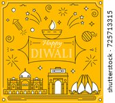 happy diwali  greeting card in... | Shutterstock .eps vector #725713315