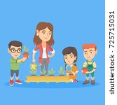 young caucasian teacher and... | Shutterstock .eps vector #725715031