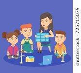 caucasian school kids learning... | Shutterstock .eps vector #725715079