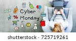 cyber monday text with man... | Shutterstock . vector #725719261