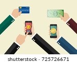 online payment and cashless... | Shutterstock .eps vector #725726671
