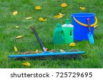 tools for lawn in the garden | Shutterstock . vector #725729695