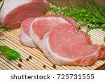 fresh raw pork shops with... | Shutterstock . vector #725731555