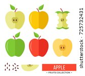 apple. yellow  green  red whole ... | Shutterstock .eps vector #725732431