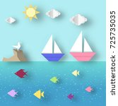 cutout trend. paper origami... | Shutterstock .eps vector #725735035