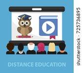 distance education flat concept.... | Shutterstock .eps vector #725736895