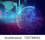 earth futuristic technology... | Shutterstock . vector #725738401