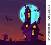 spooky old haunted house with...   Shutterstock .eps vector #725738779