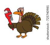 cartoon turkey holding wrench... | Shutterstock .eps vector #725740981