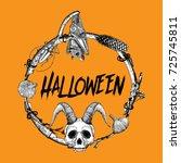 lettering halloween with hand... | Shutterstock .eps vector #725745811
