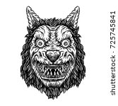 angry smiling cunning wolf...   Shutterstock .eps vector #725745841