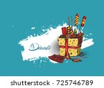 diwali crackers gift hand drawn ... | Shutterstock .eps vector #725746789