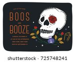 boos and booze halloween... | Shutterstock .eps vector #725748241