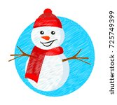 snowman. embroidery. vector... | Shutterstock .eps vector #725749399