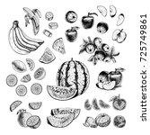 hand drawn set of fruits.... | Shutterstock .eps vector #725749861
