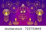 happy diwali festival card with ... | Shutterstock .eps vector #725753845