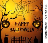 halloween background with... | Shutterstock . vector #725755411