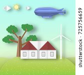 paper origami landscape ecology ... | Shutterstock .eps vector #725756659