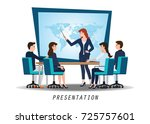 business woman presenting world ... | Shutterstock .eps vector #725757601