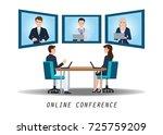 businesspeople attending video... | Shutterstock .eps vector #725759209