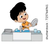 kid help their parents wash... | Shutterstock .eps vector #725766961