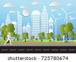 paper art of city and park on... | Shutterstock .eps vector #725780674