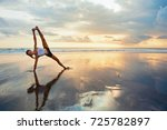 young active woman in yoga pose ... | Shutterstock . vector #725782897