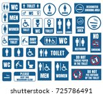 toilet signs  toilet icons set  ... | Shutterstock .eps vector #725786491