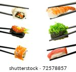 sushi with chopsticks isolated... | Shutterstock . vector #72578857