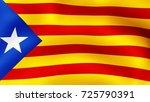 3d rendering. flag of catalonia ... | Shutterstock . vector #725790391