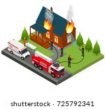 firefighters extinguish fire at ... | Shutterstock .eps vector #725792341
