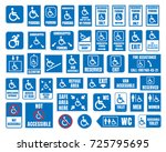 handicap signs  wc and parking... | Shutterstock .eps vector #725795695