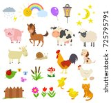 cartoon set of farm animals... | Shutterstock .eps vector #725795791
