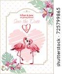 vector wedding invitation with... | Shutterstock .eps vector #725799865