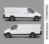 blank white cargo minibus... | Shutterstock .eps vector #725800981
