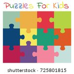 vector colorful puzzles for kids | Shutterstock .eps vector #725801815