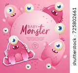 colorful cute  monsters set  ... | Shutterstock .eps vector #725802661