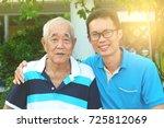 happy asian family relaxing in... | Shutterstock . vector #725812069