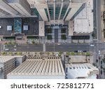 bird's eye view above buildings ... | Shutterstock . vector #725812771