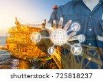 double exposure of engineer or...   Shutterstock . vector #725818237