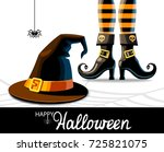 witches hat and legs in shoes... | Shutterstock .eps vector #725821075