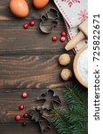 christmas baking ingredients ... | Shutterstock . vector #725822671